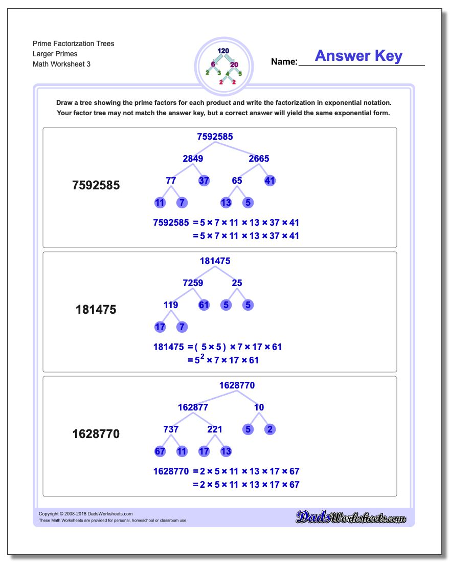 Prime Factorization Trees Larger Primes Worksheet