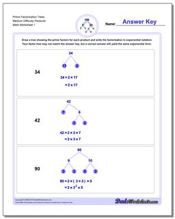 Factorization, GCD, LCM Prime Trees Medium Difficulty Products Worksheet