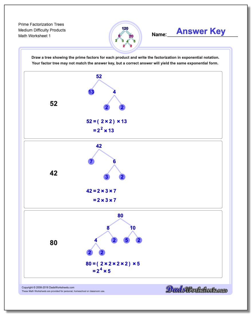 worksheet Prime Factors Of 50 prime factorization gcd lcm trees medium difficulty products worksheet