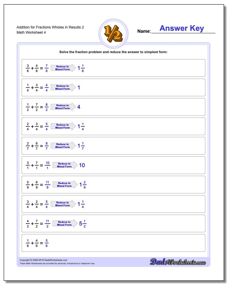 Addition Worksheet for Fraction Worksheets Wholes in Results 2