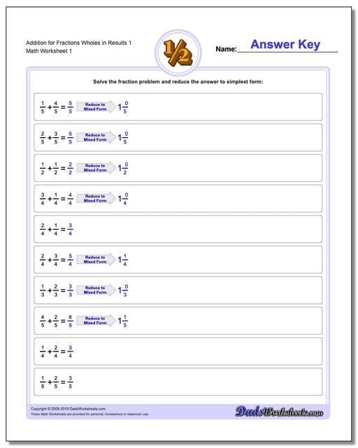 Common Denominator, Mixed Answers Fraction Worksheets Addition Worksheets