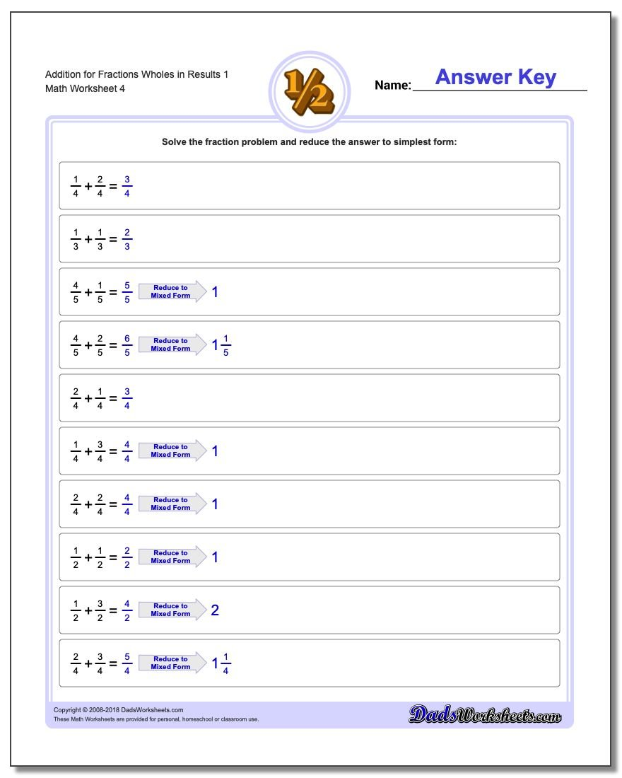 Addition Worksheet for Fraction Worksheets Wholes in Results 1