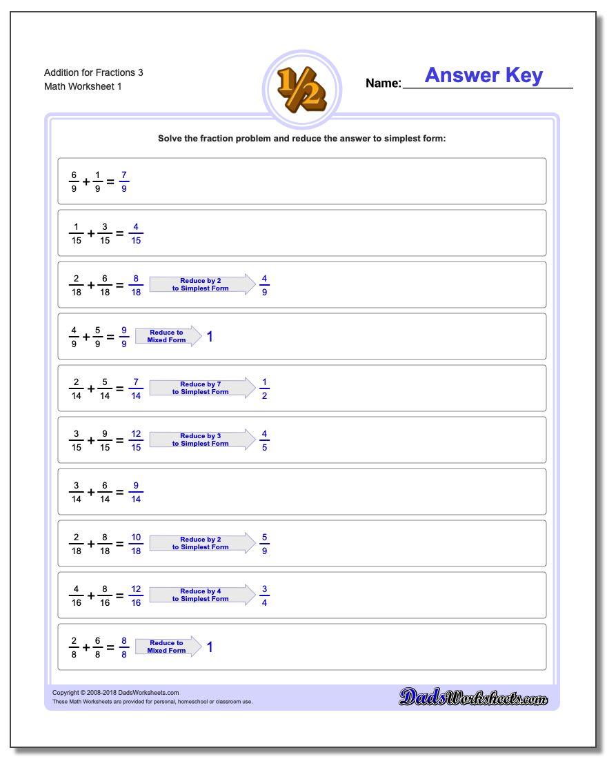 Adding Fraction Worksheets Addition Worksheet for 3