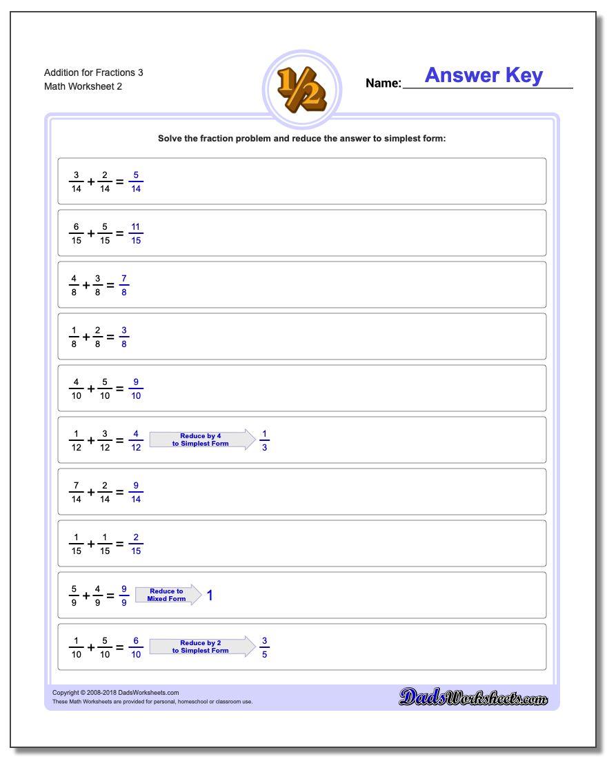 Addition Worksheet for Fraction Worksheets 3 www.dadsworksheets.com/worksheets/fraction-addition.html
