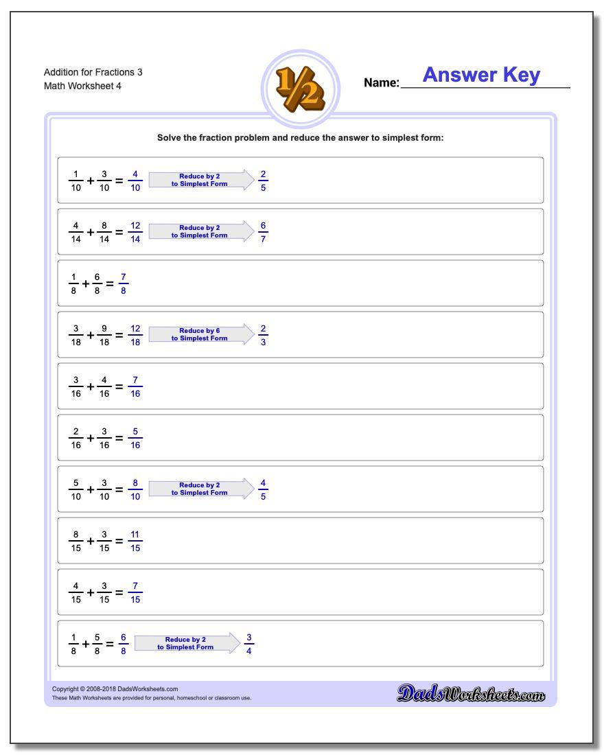 Addition Worksheet for Fraction Worksheets 3