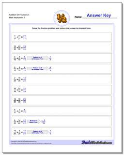 Adding Fraction Worksheets Addition Worksheet for 4