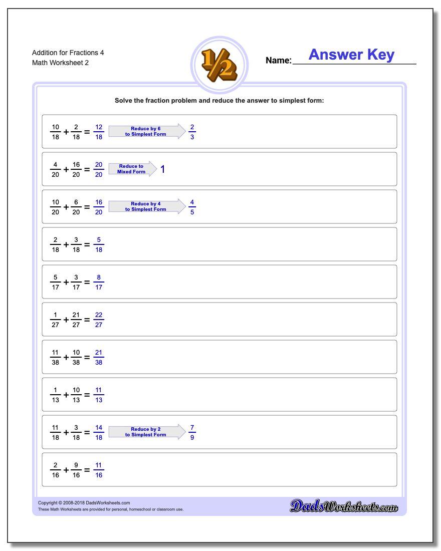 Addition Worksheet for Fraction Worksheets 4 www.dadsworksheets.com/worksheets/fraction-addition.html