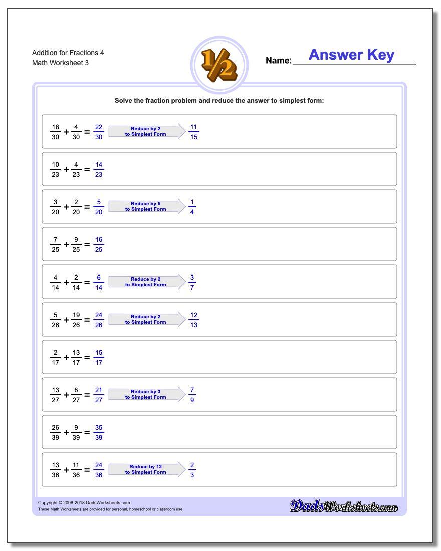 Addition Worksheet for Fraction Worksheets 4