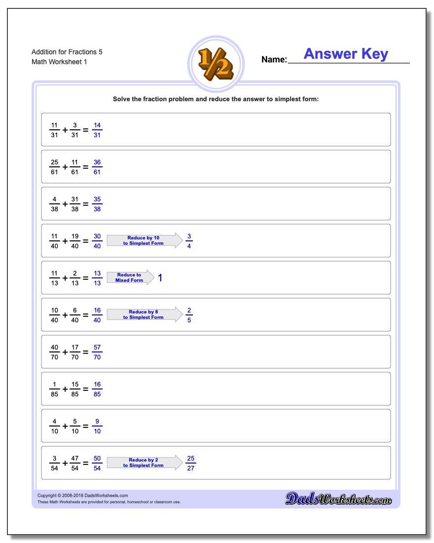 Adding Fraction Worksheets Addition Worksheet for 5