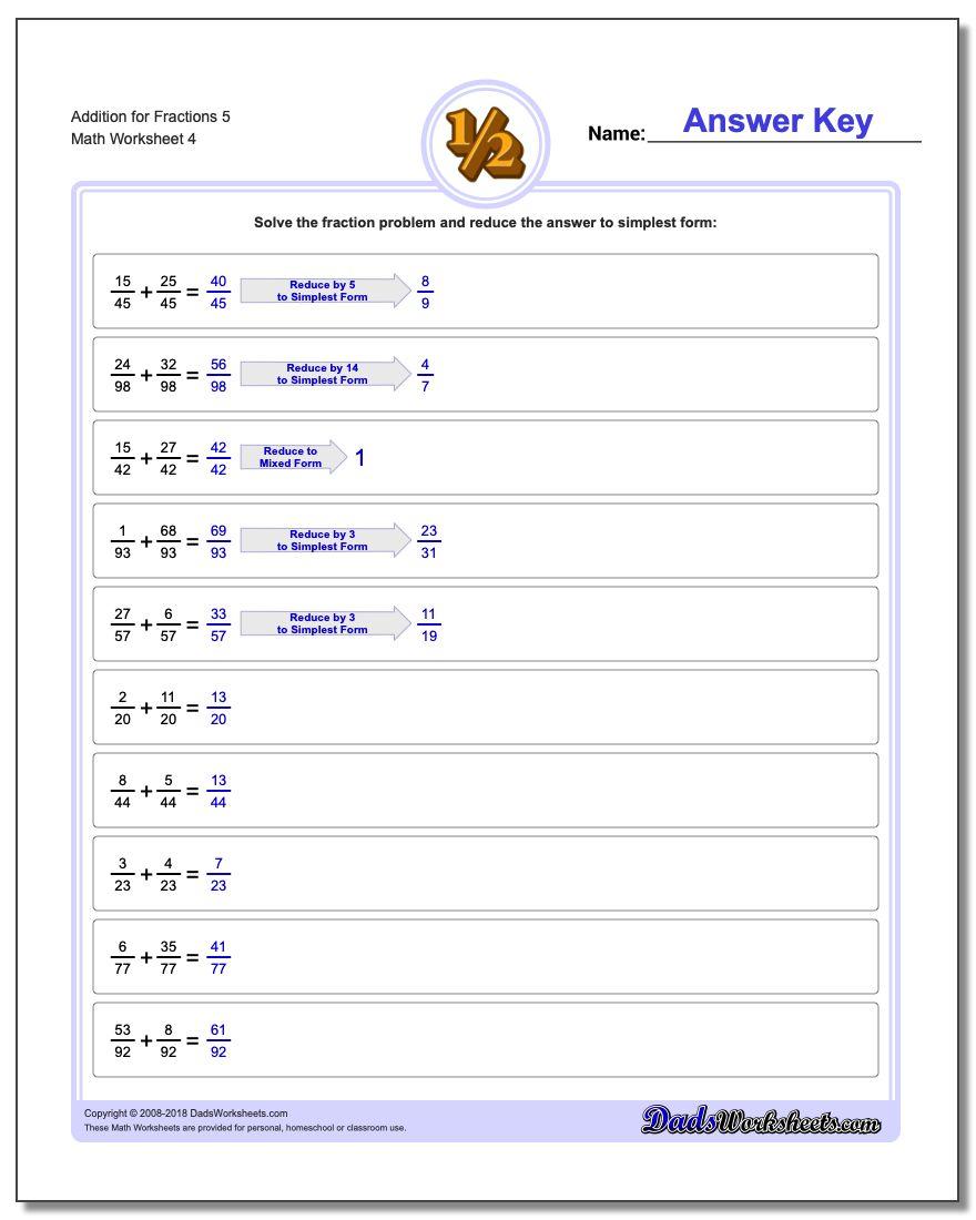 Addition Worksheet for Fraction Worksheets 5