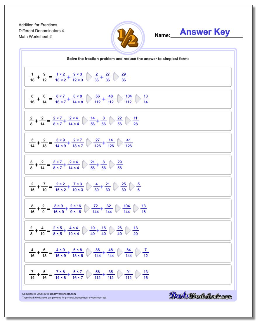Addition Worksheet for Fraction Worksheets Different Denominators 4 www.dadsworksheets.com/worksheets/fraction-addition.html
