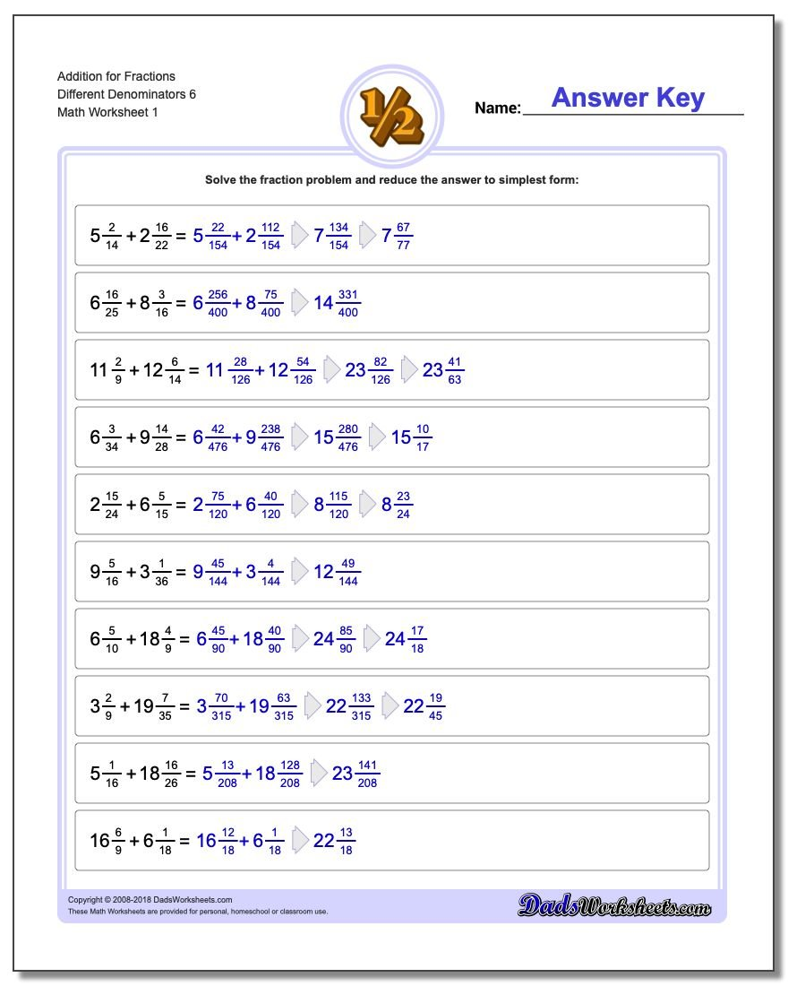 Different Denominators – Addition Fractions Worksheets