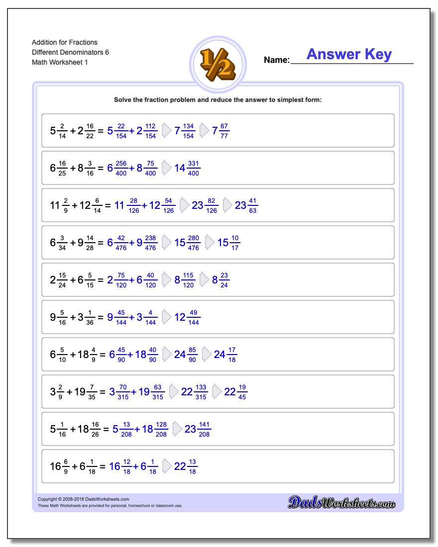 Adding Fraction Worksheets Addition Worksheet for Different Denominators 6