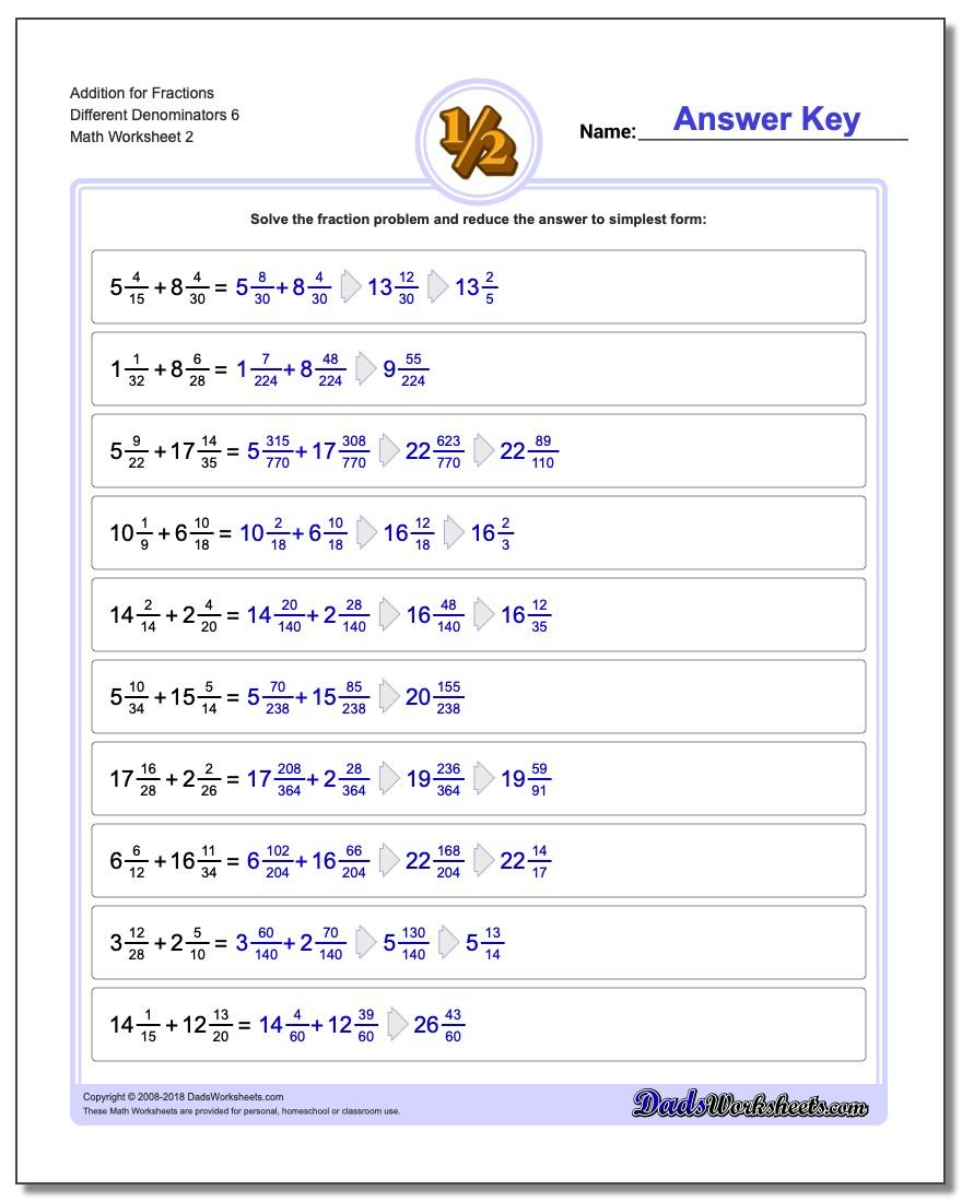 Addition Worksheet for Fraction Worksheets Different Denominators 6 www.dadsworksheets.com/worksheets/fraction-addition.html