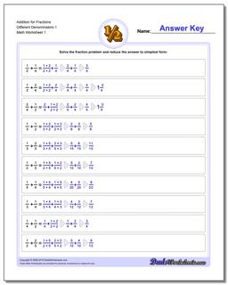 Adding Fraction Worksheets Addition Worksheet for Different Denominators 1
