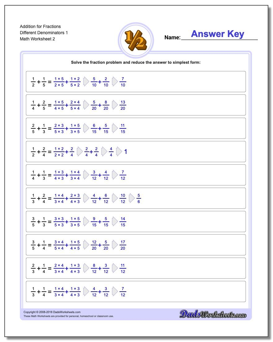 Addition Worksheet for Fraction Worksheets Different Denominators 1 www.dadsworksheets.com/worksheets/fraction-addition.html