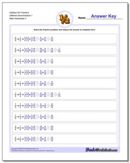 Addition Worksheet for Fraction Worksheets Different Denominators 1