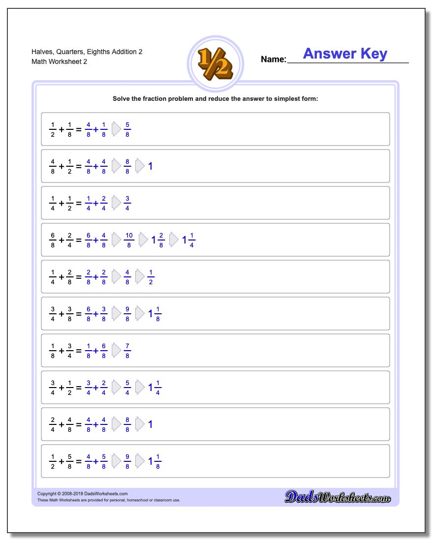 Halves, Quarters, Eighths Addition Worksheet 2 www.dadsworksheets.com/worksheets/fraction-addition.html