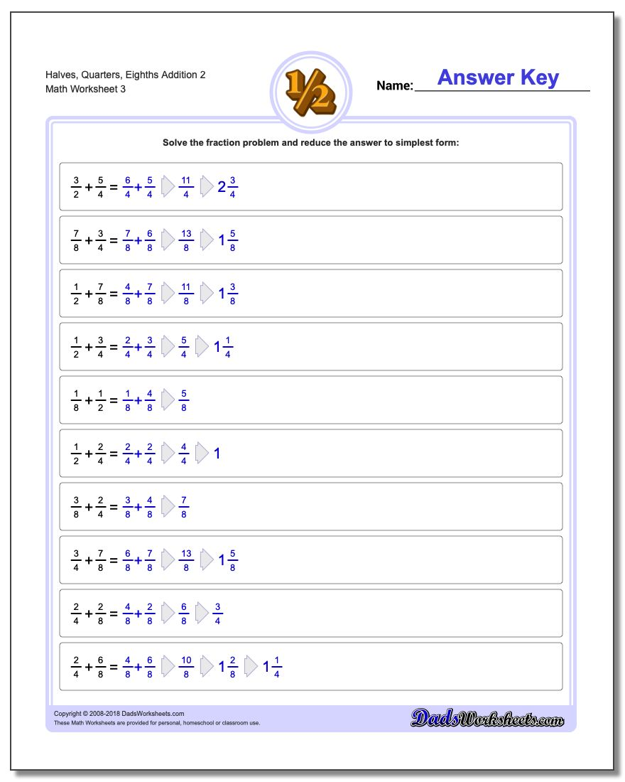 Halves, Quarters, Eighths Addition Worksheet 2