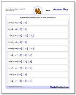 Halves, Quarters, Eighths Addition Worksheet 3 Adding Fraction Worksheets