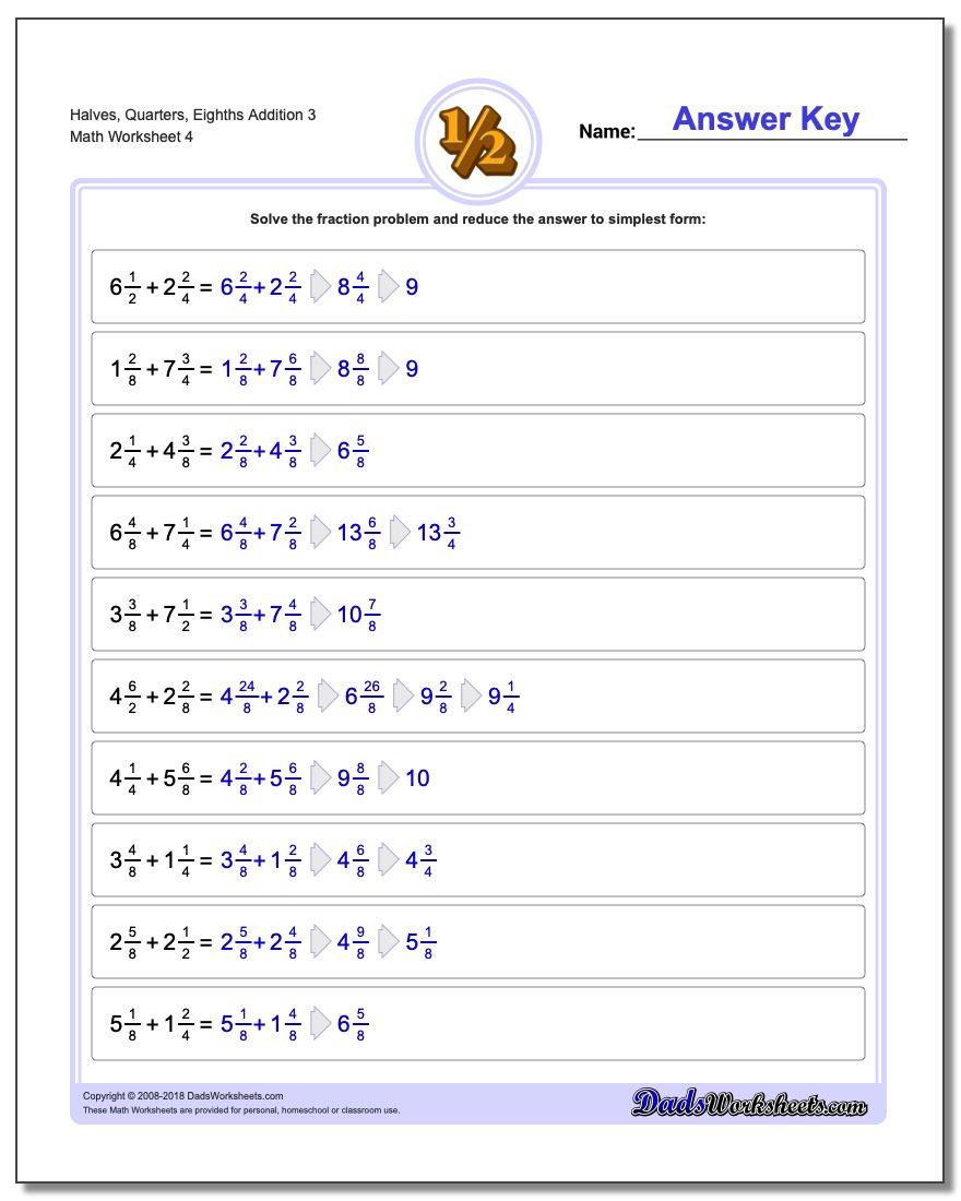 Halves, Quarters, Eighths Addition Worksheet 3