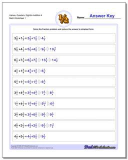 Halves, Quarters, Eighths Addition Worksheet 4 Adding Fraction Worksheets