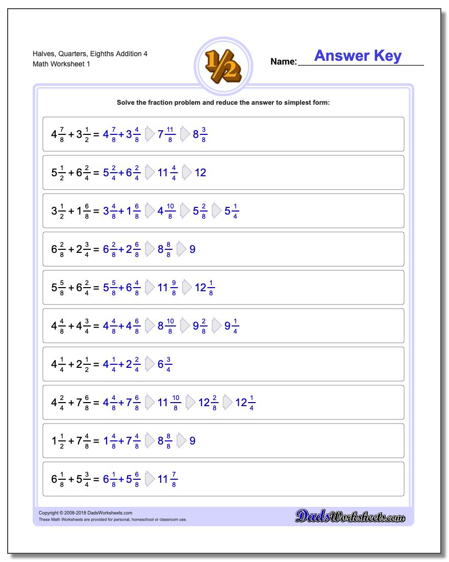 Halves, Quarters, Eighths Addition Worksheet 4 Adding Fraction Worksheets