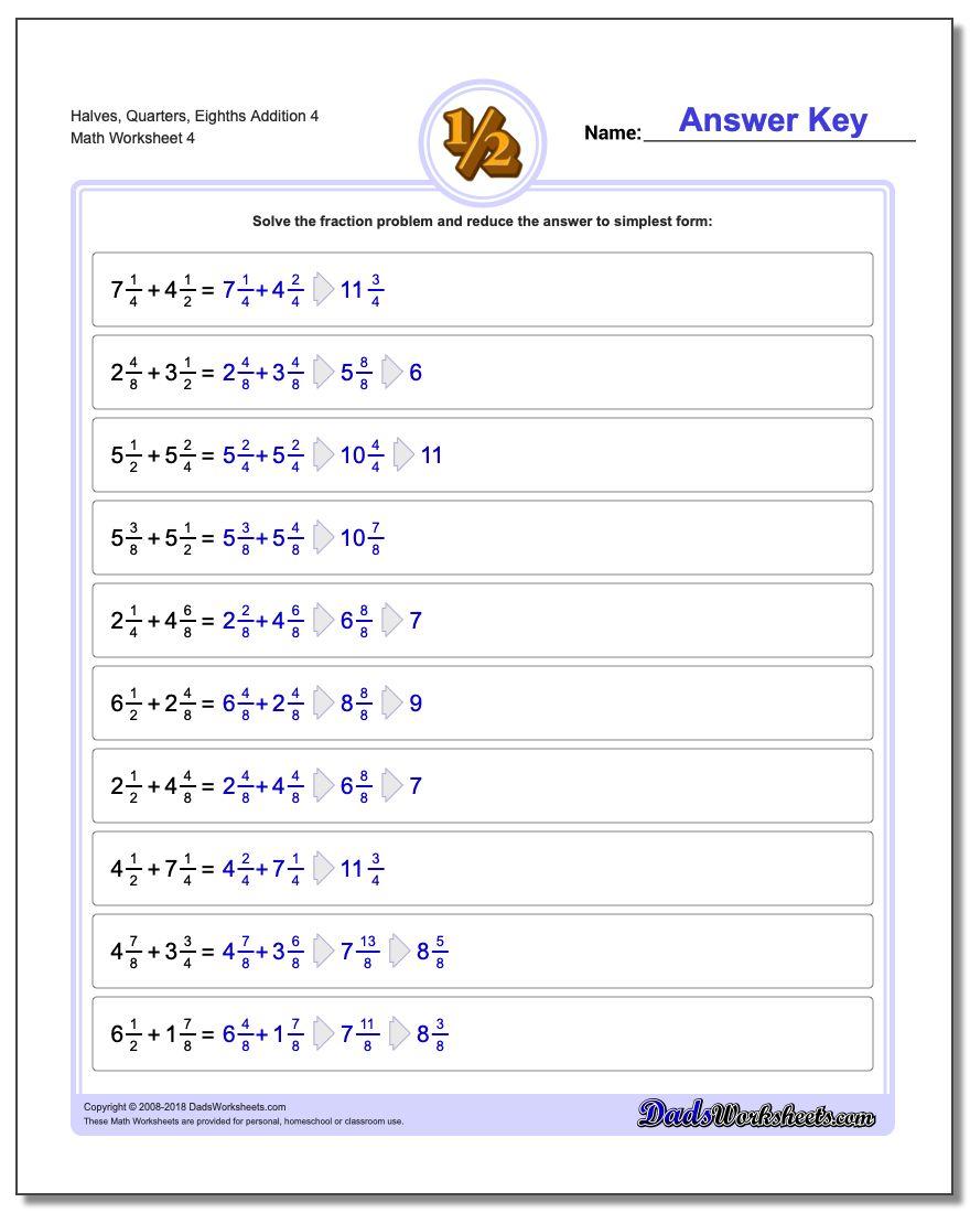 Halves, Quarters, Eighths Addition Worksheet 4