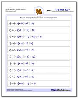Halves, Quarters, Eighths Addition Worksheet54 Adding Fraction Worksheets