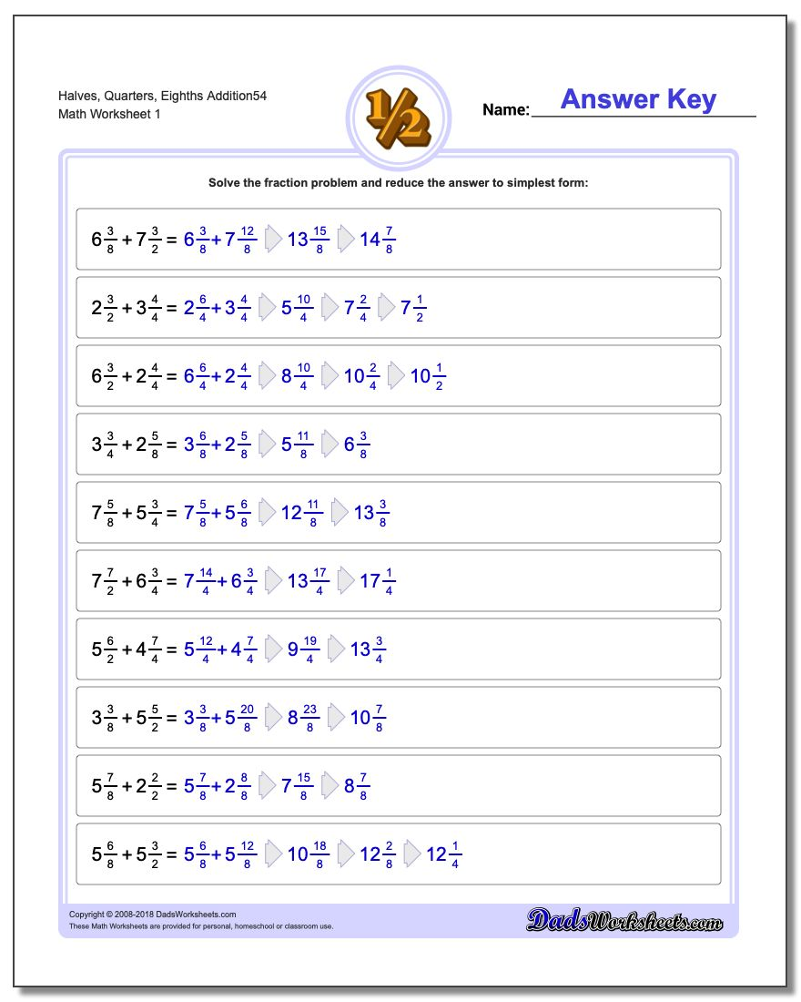 Halves, Quarters, Eighths Addition Worksheet54 Adding Fraction Worksheets