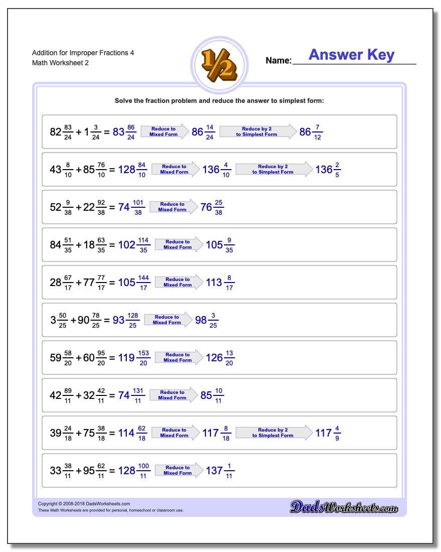 Addition Worksheet for Improper Fraction Worksheets 4 www.dadsworksheets.com/worksheets/fraction-addition.html