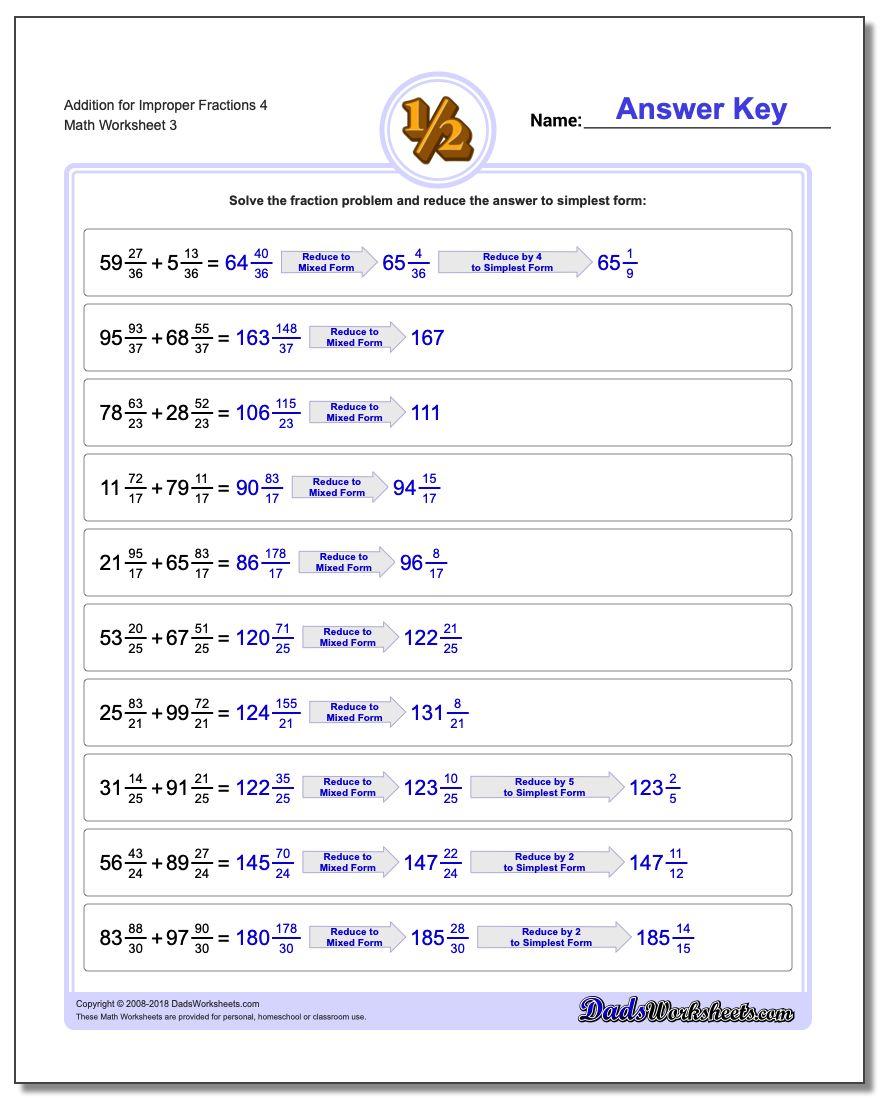 Addition Worksheet for Improper Fraction Worksheets 4