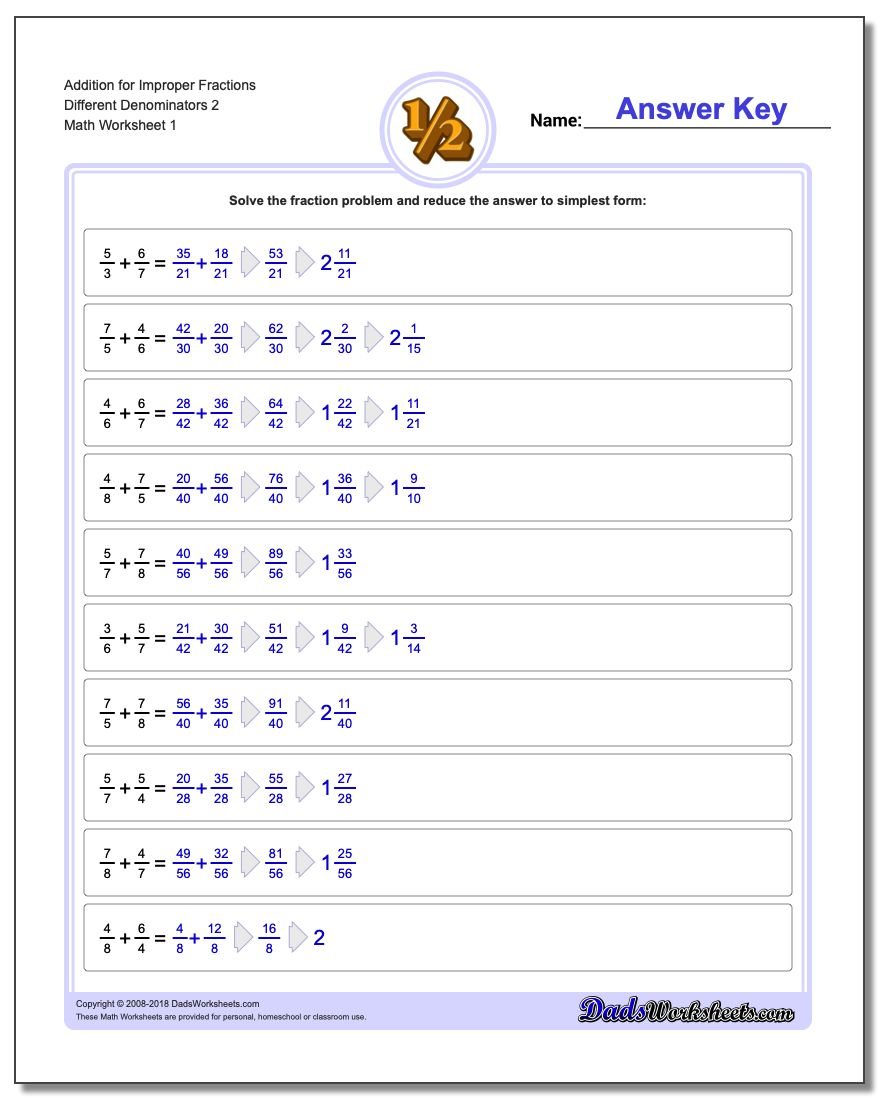 Adding Fraction Worksheets Addition Worksheet for Improper Different Denominators 2
