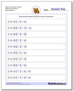Addition Worksheet for Improper Fraction Worksheets Different Denominators 2