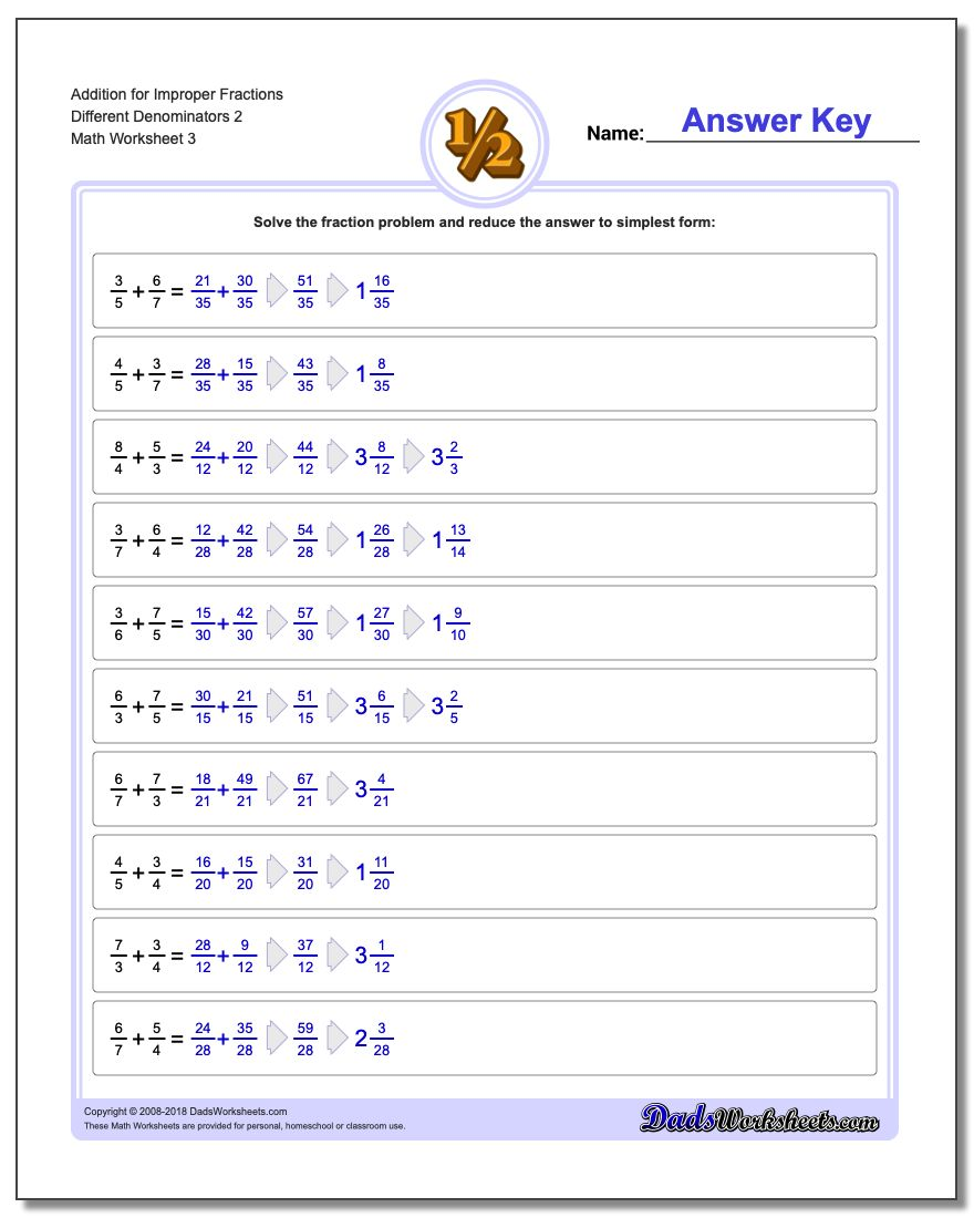 Addition Worksheet for Improper Fraction Worksheets Different Denominators 2