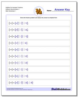 Improper With Different Denominator Fraction Worksheet Addition Worksheet
