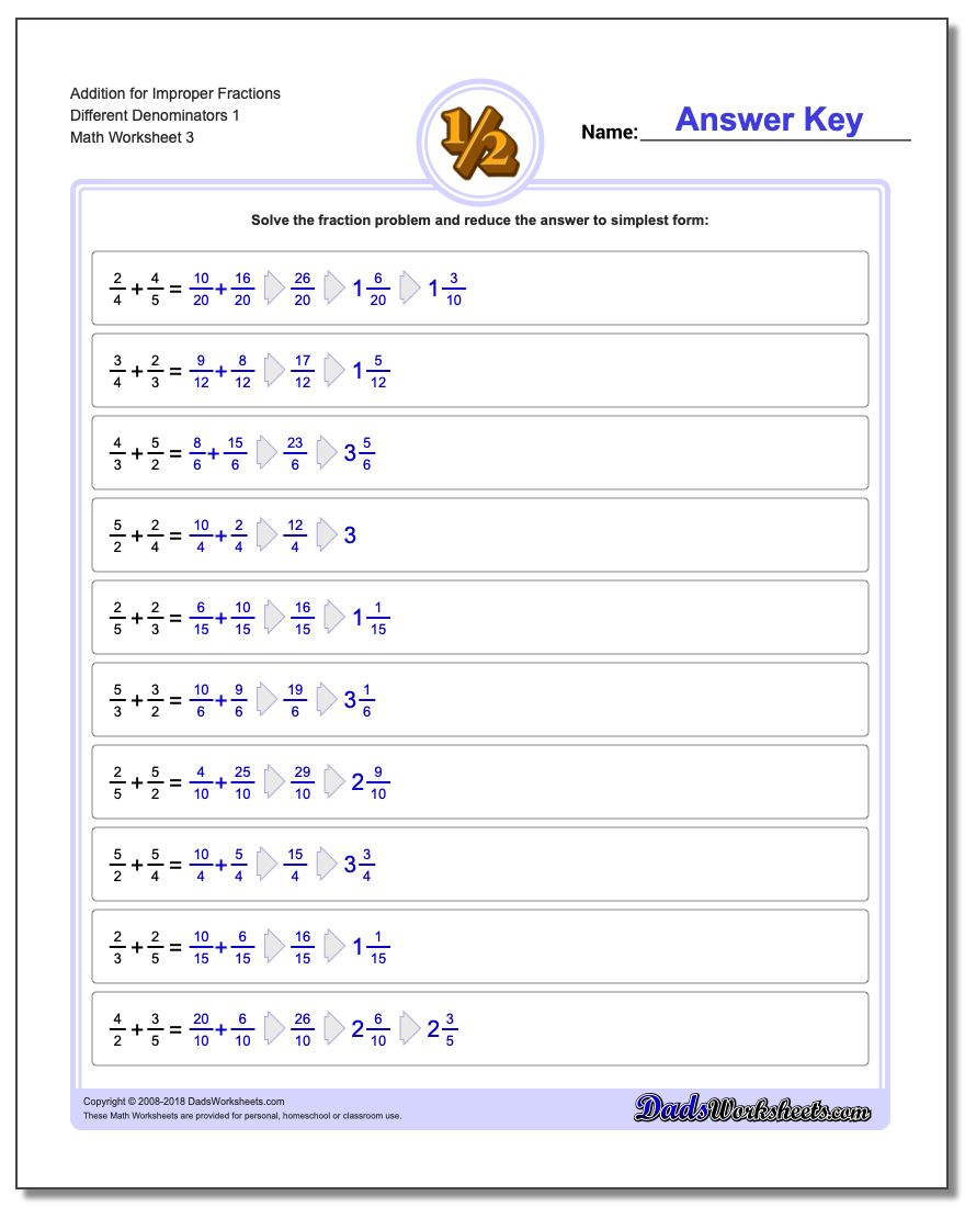 Addition Worksheet for Improper Fraction Worksheets Different Denominators 1
