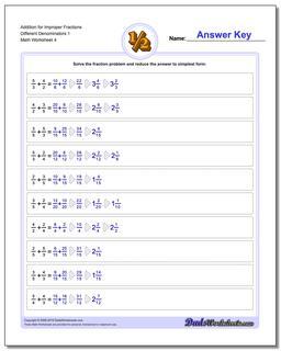 Addition Worksheet for Improper Fraction Worksheets Different Denominators 1