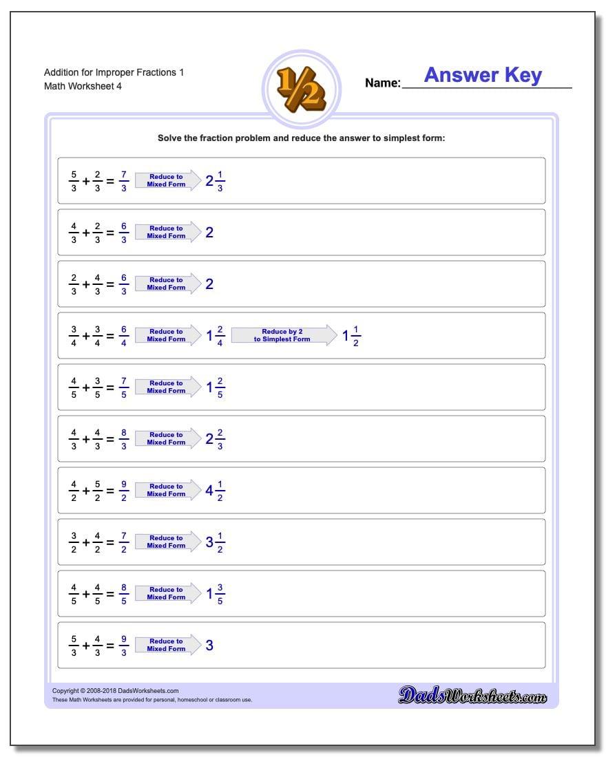 Addition Worksheet for Improper Fraction Worksheets 1