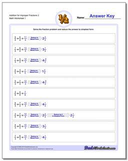 Adding Fraction Worksheets Addition Worksheet for Improper 2