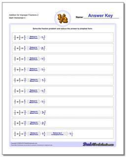 Addition Worksheet for Improper Fraction Worksheets 2