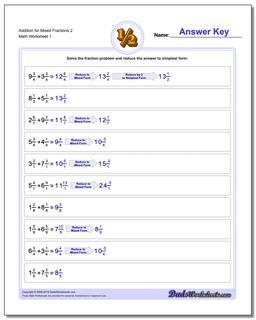 Adding Fraction Worksheets Addition Worksheet for Mixed 2