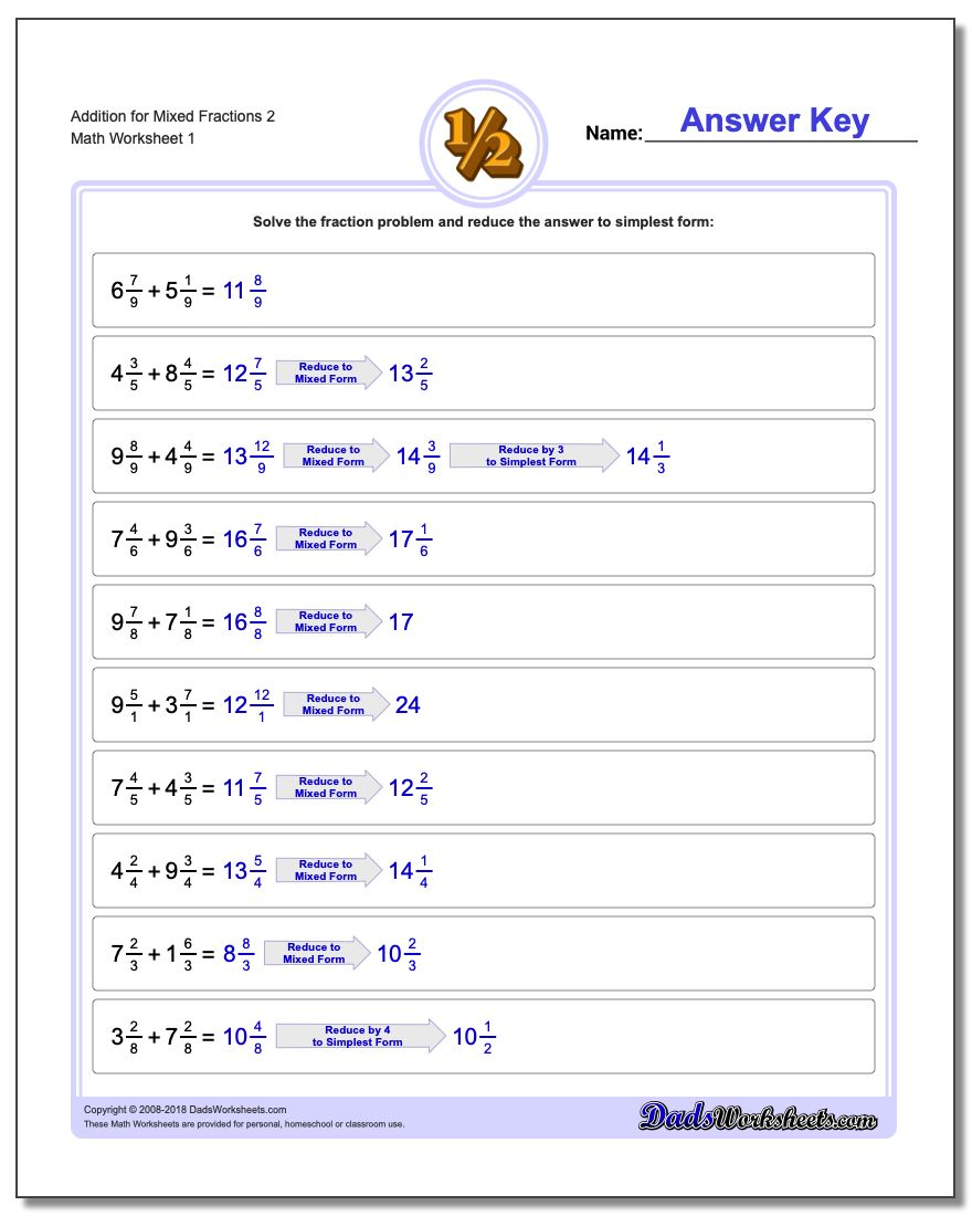 Mixed Fractions With Common Denominator – Adding Fractions with Common Denominators Worksheet