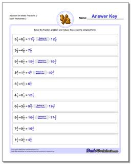 Addition Worksheet for Mixed Fraction Worksheets 2 www.dadsworksheets.com/worksheets/fraction-addition.html