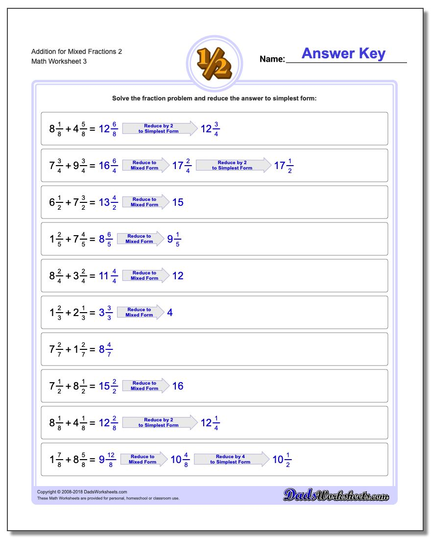 Addition Worksheet for Mixed Fraction Worksheets 2