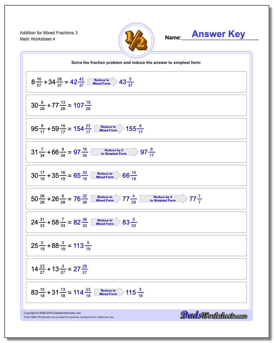 Addition Worksheet for Mixed Fraction Worksheets 3
