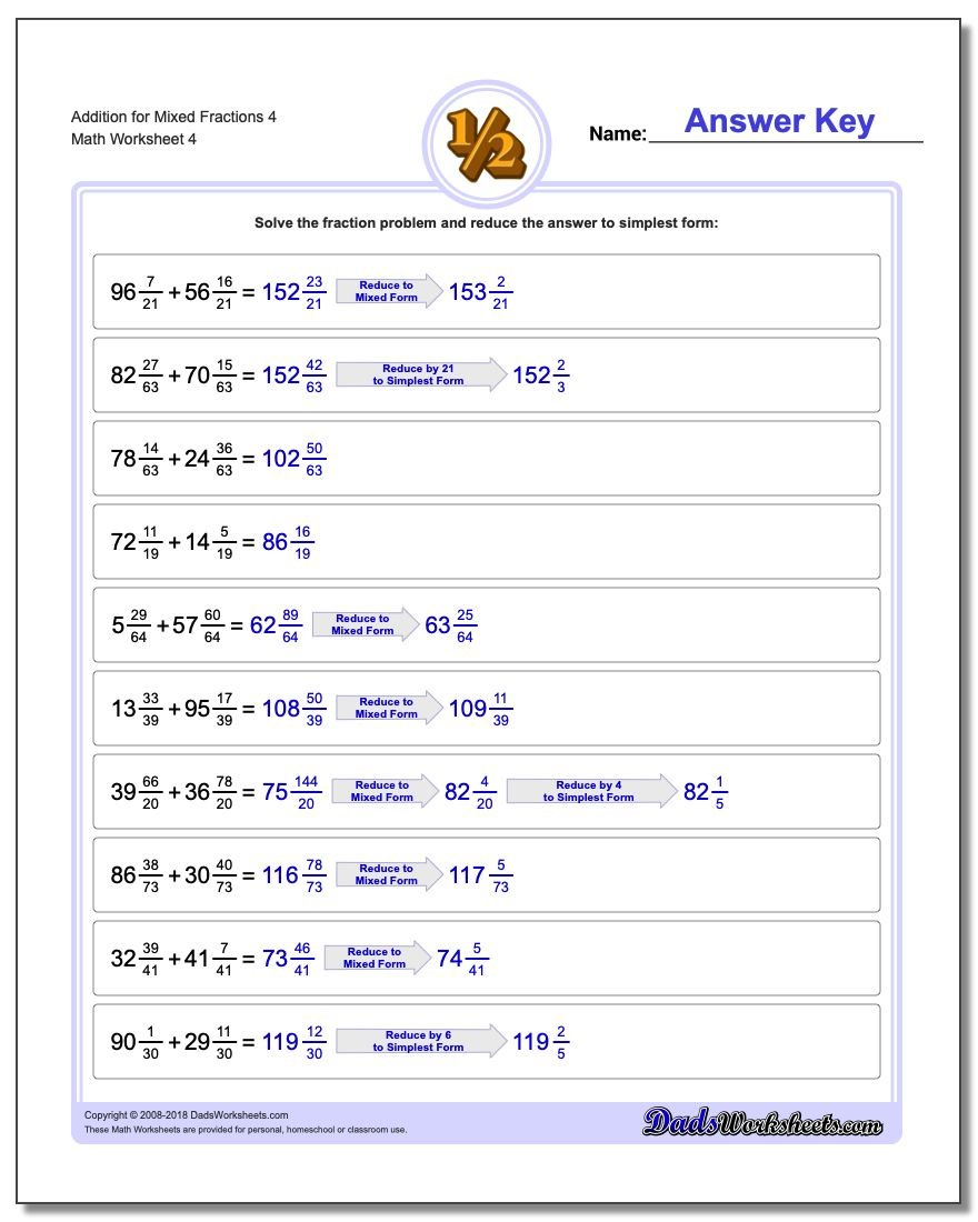 Addition Worksheet for Mixed Fraction Worksheets 4