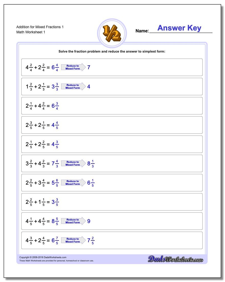 Fraction Addition – Addition of Whole Numbers Worksheets