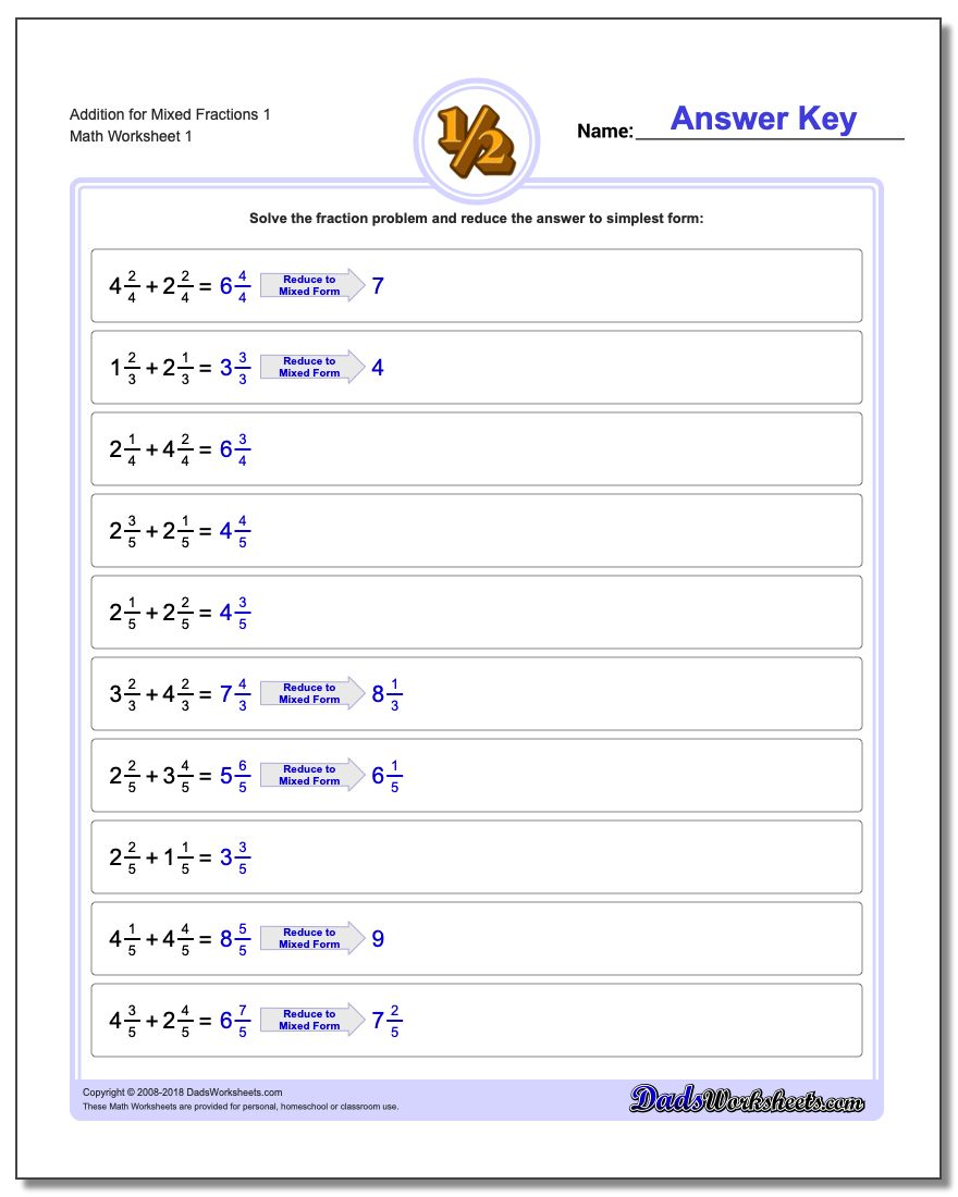 Addition – Worksheets for Adding Fractions