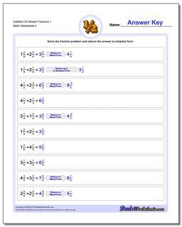Addition Worksheet for Mixed Fraction Worksheets 1